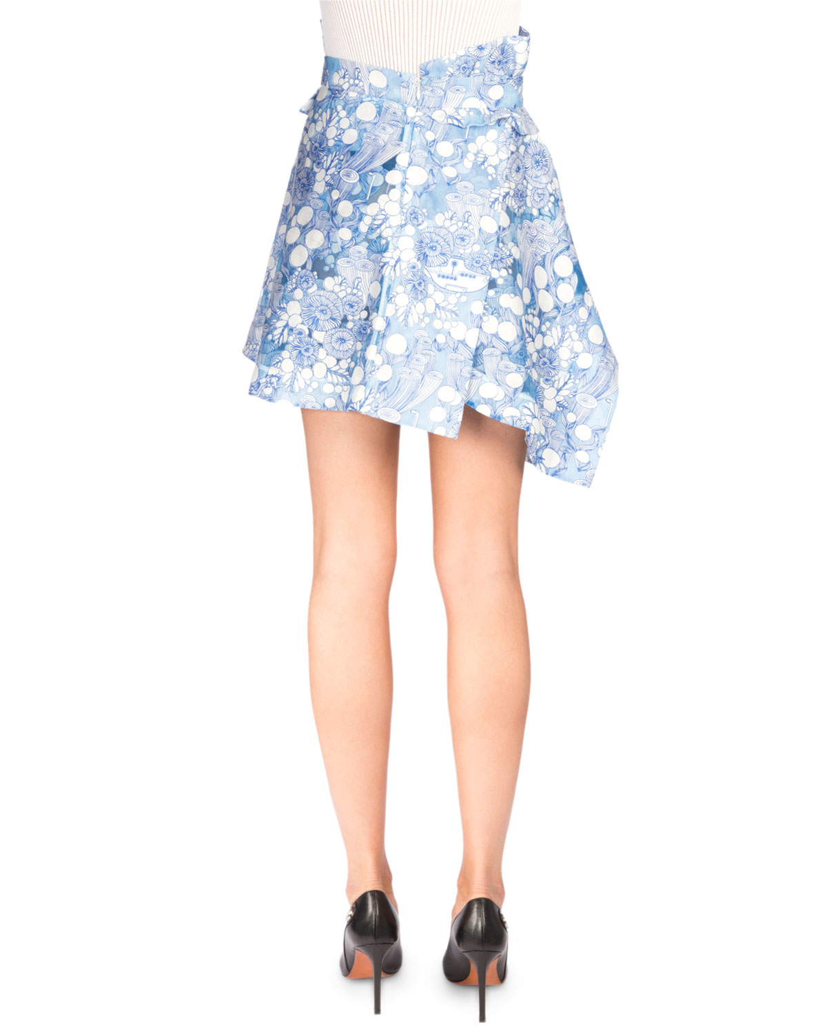 carven floral tiered asymmetric skirt in blue lyst