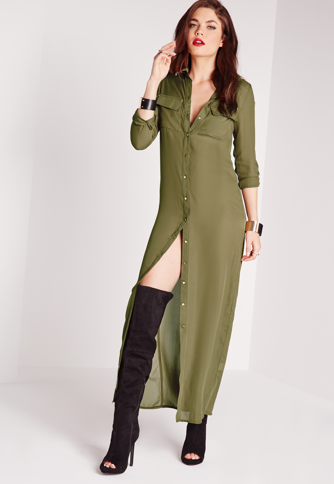 Missguided Maxi Length Long Sleeve Shirt Dress Khaki In