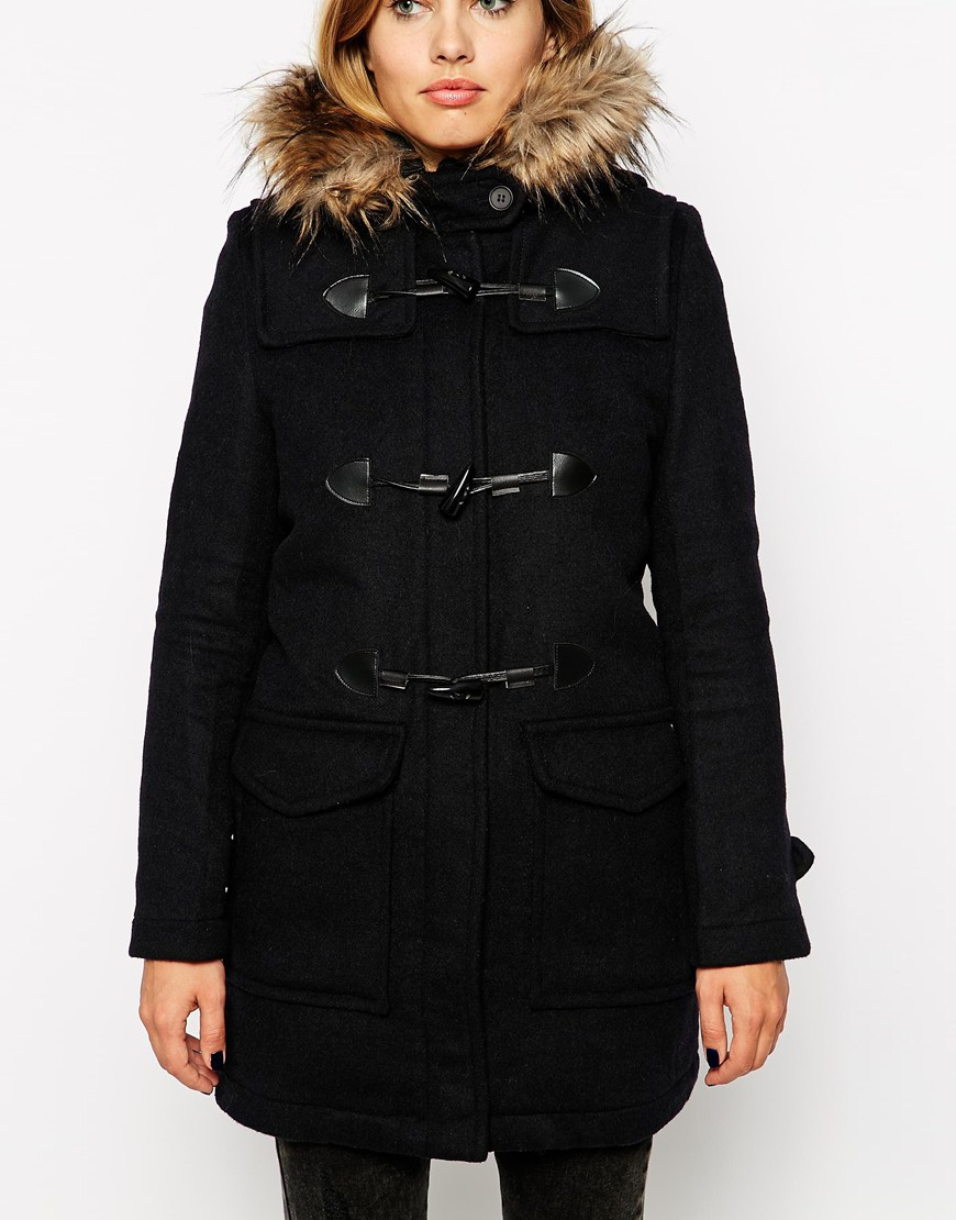 lyst pepe jeans duffle coat with faux fur trimmed hood. Black Bedroom Furniture Sets. Home Design Ideas