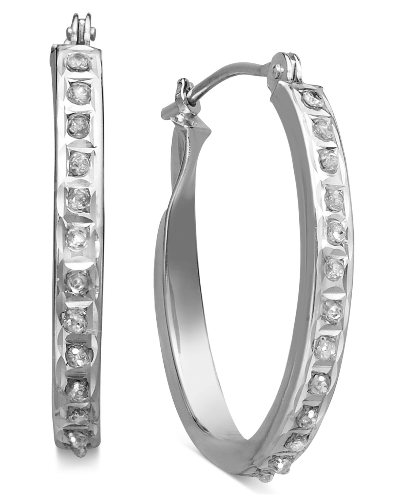 Macy White Gold Diamond Hoop Earrings