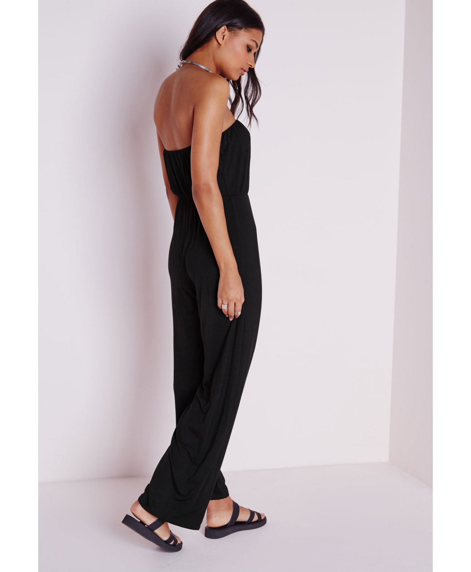 Missguided Black Wide Leg Bandeau Jumpsuit in Black | Lyst