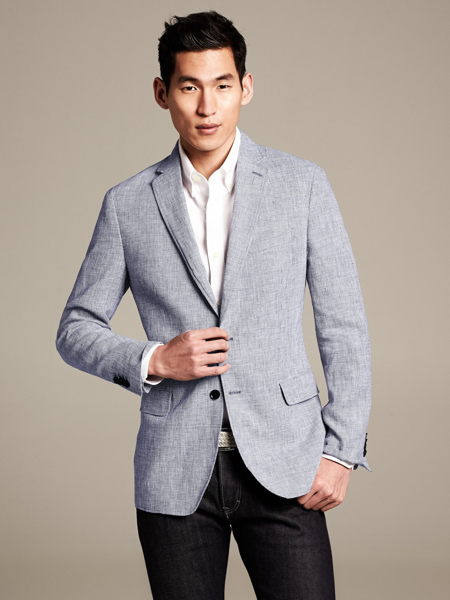 Banana Republic Tailored Fit Houndstooth Linen Blazer In