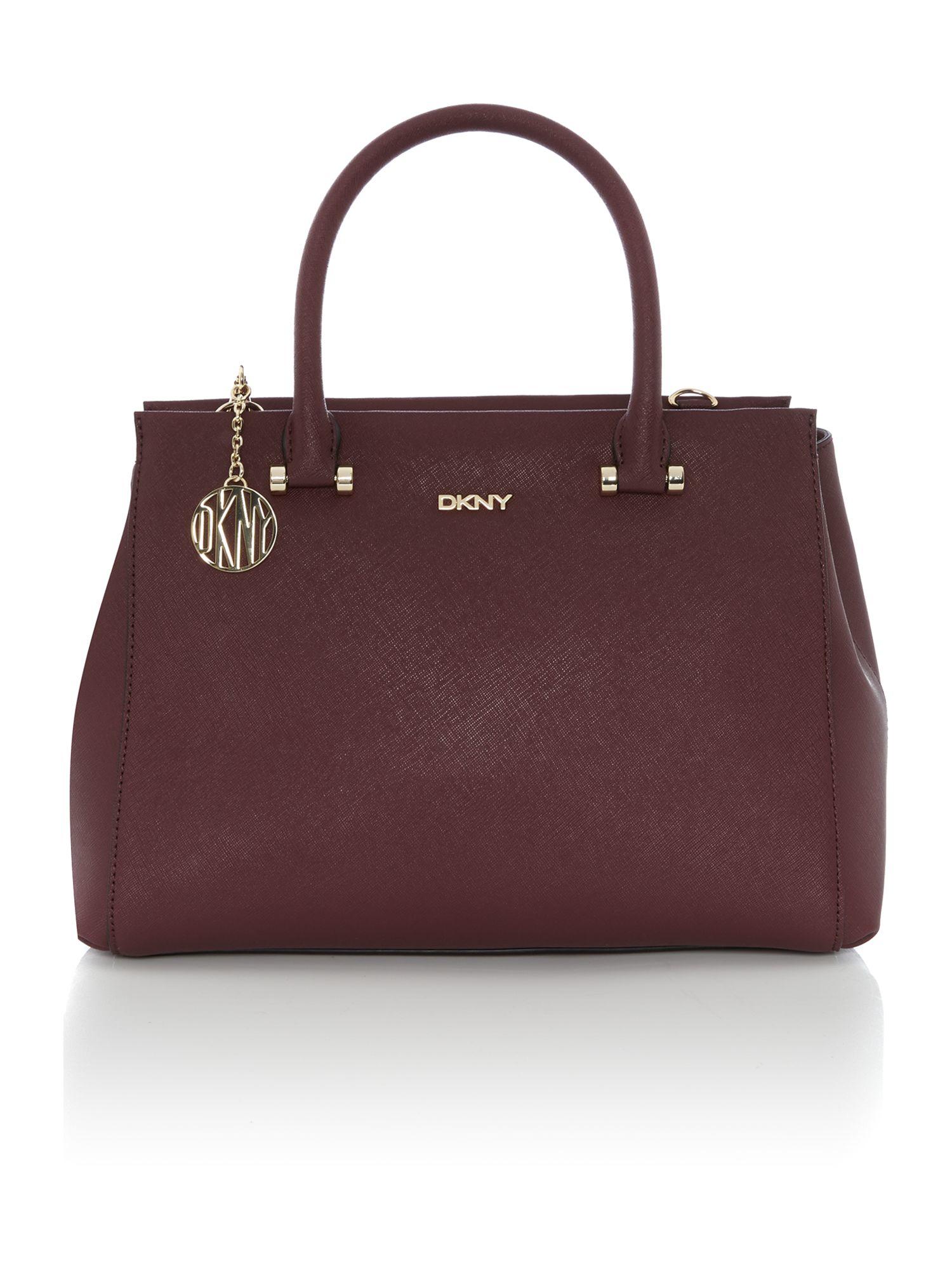 Dkny Saffiano Burgundy Large Satchel Bag in Purple | Lyst