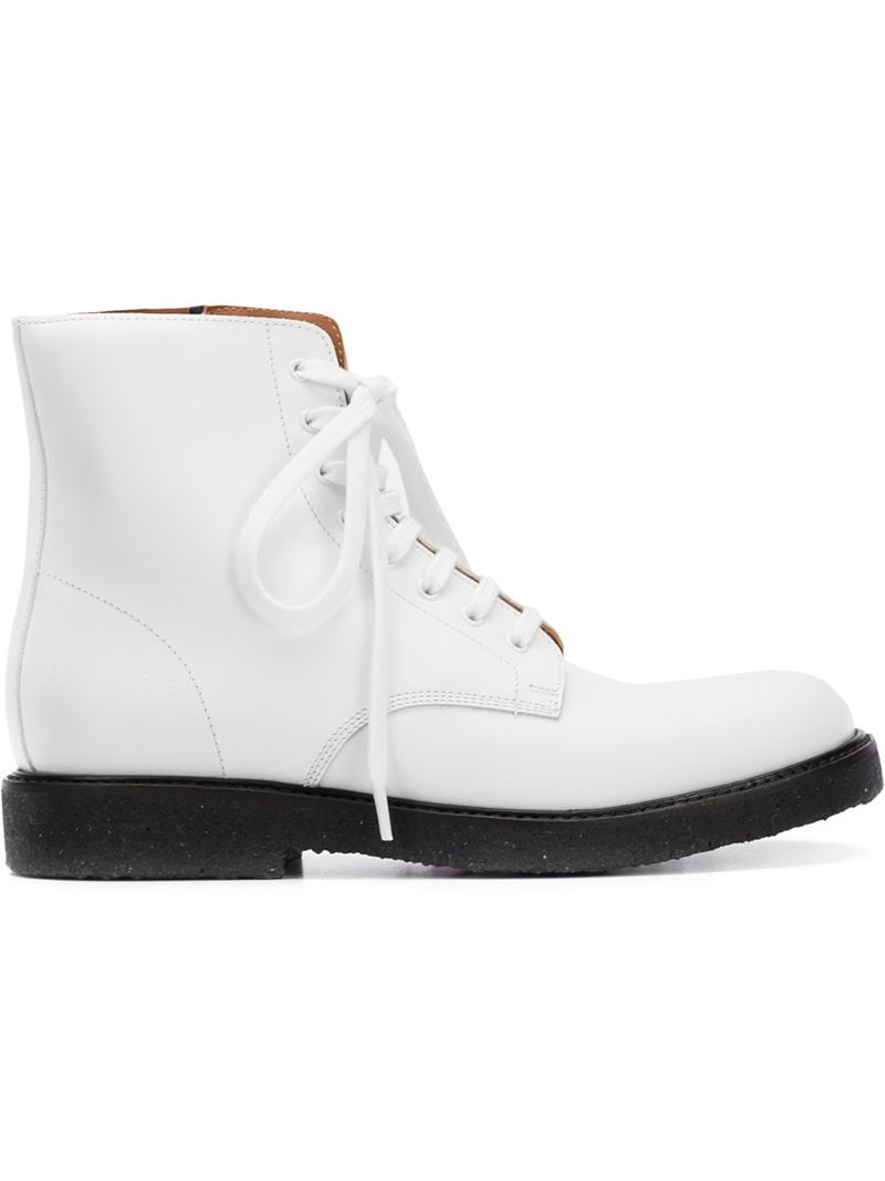 133d9d1188abb Lyst - Common projects Lace-Up Faux-Leather Combat Boots .
