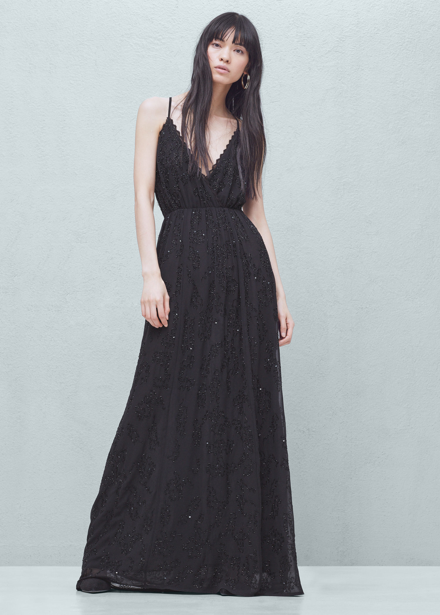 mango v neck maxi dress