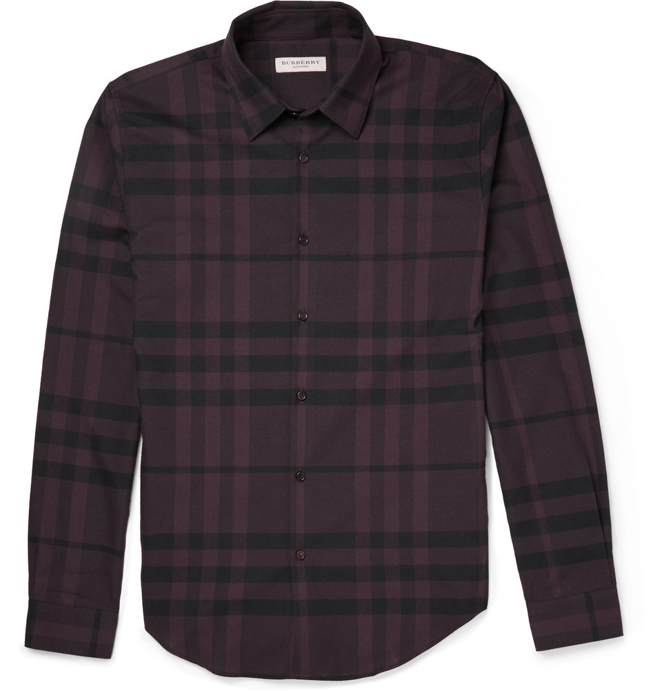 Burberry slim fit checked cotton flannel shirt in red for for Women s slim fit flannel shirt