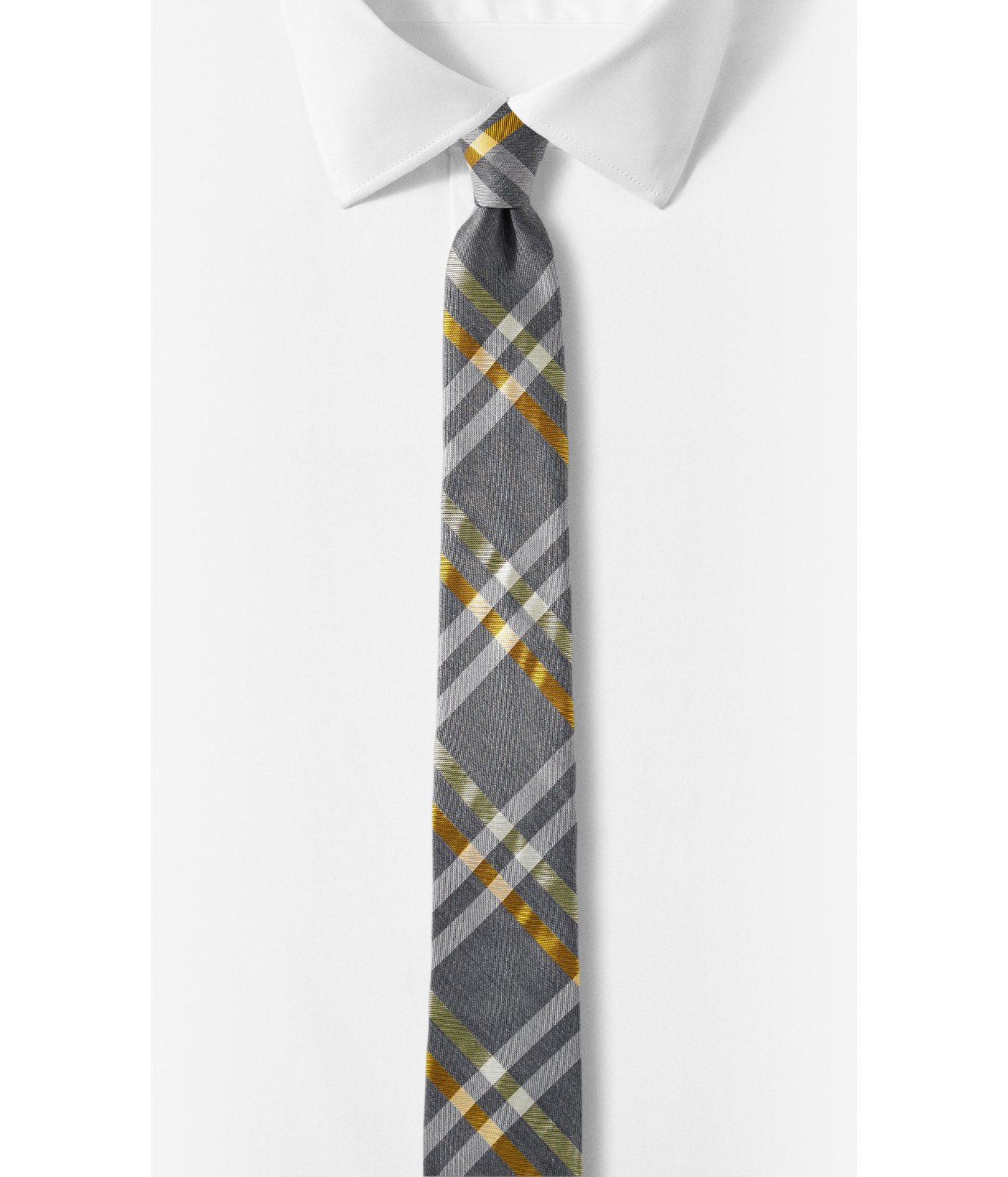 express plaid narrow silk blend tie in yellow for lyst