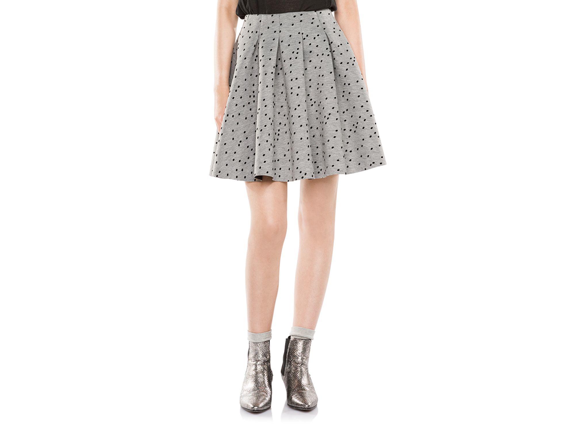 maje joye pleated polka dot skirt in gray lyst