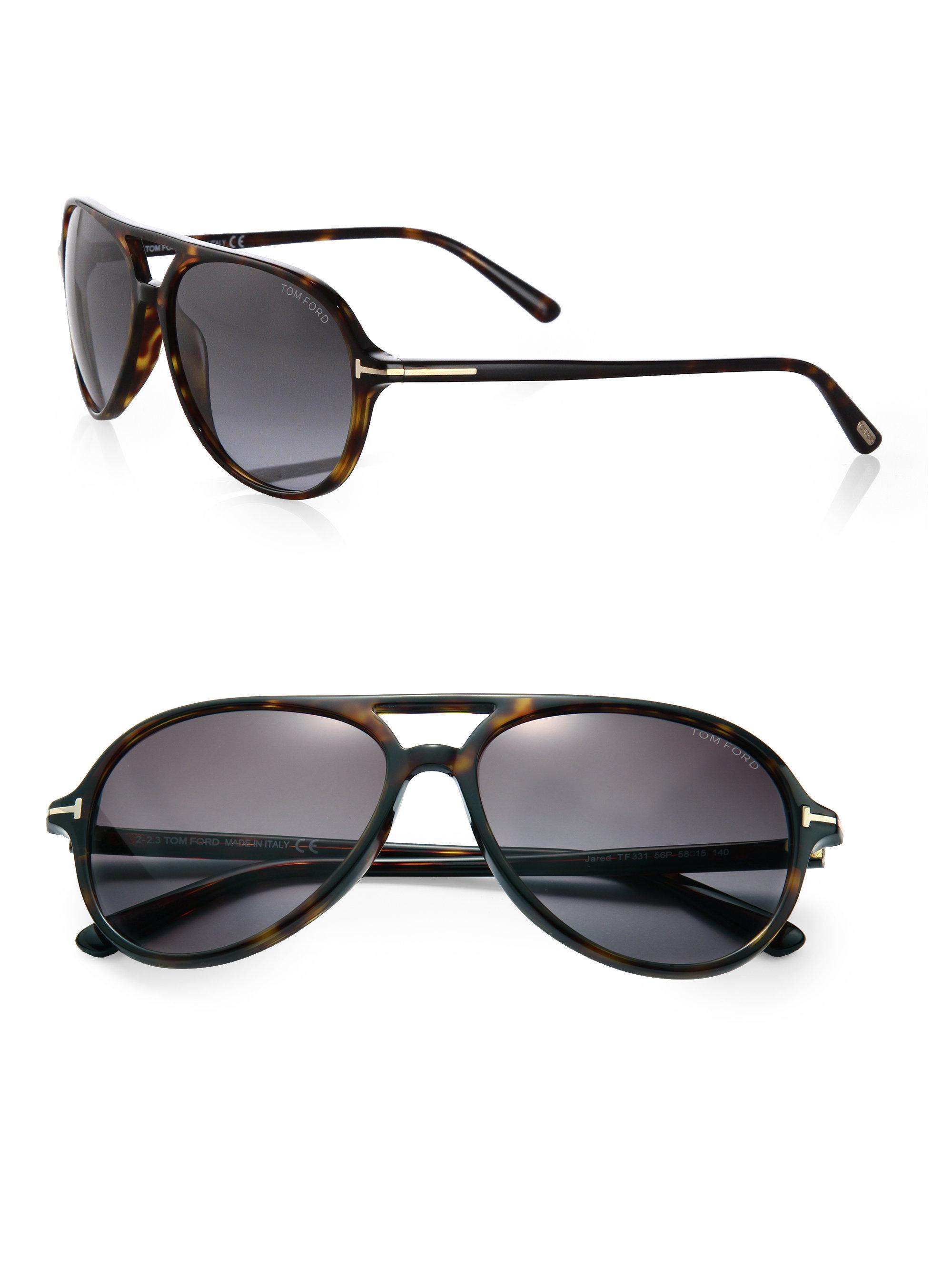 3f6ddc5980 Tom Ford Jared Plastic Aviator Sunglasses in Black - Lyst