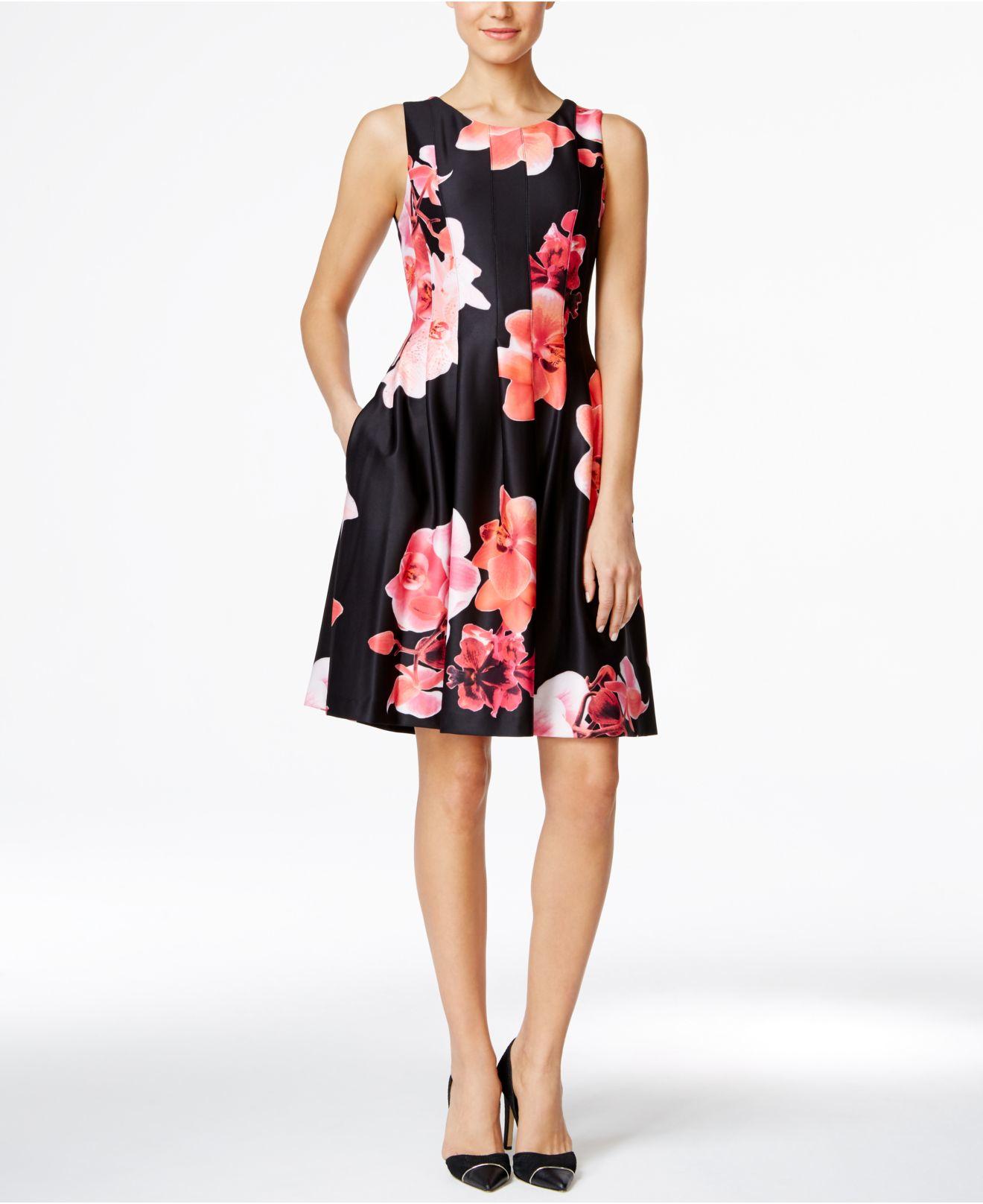 Lyst Calvin Klein Petite Floral Print Fit Amp Flare Scuba