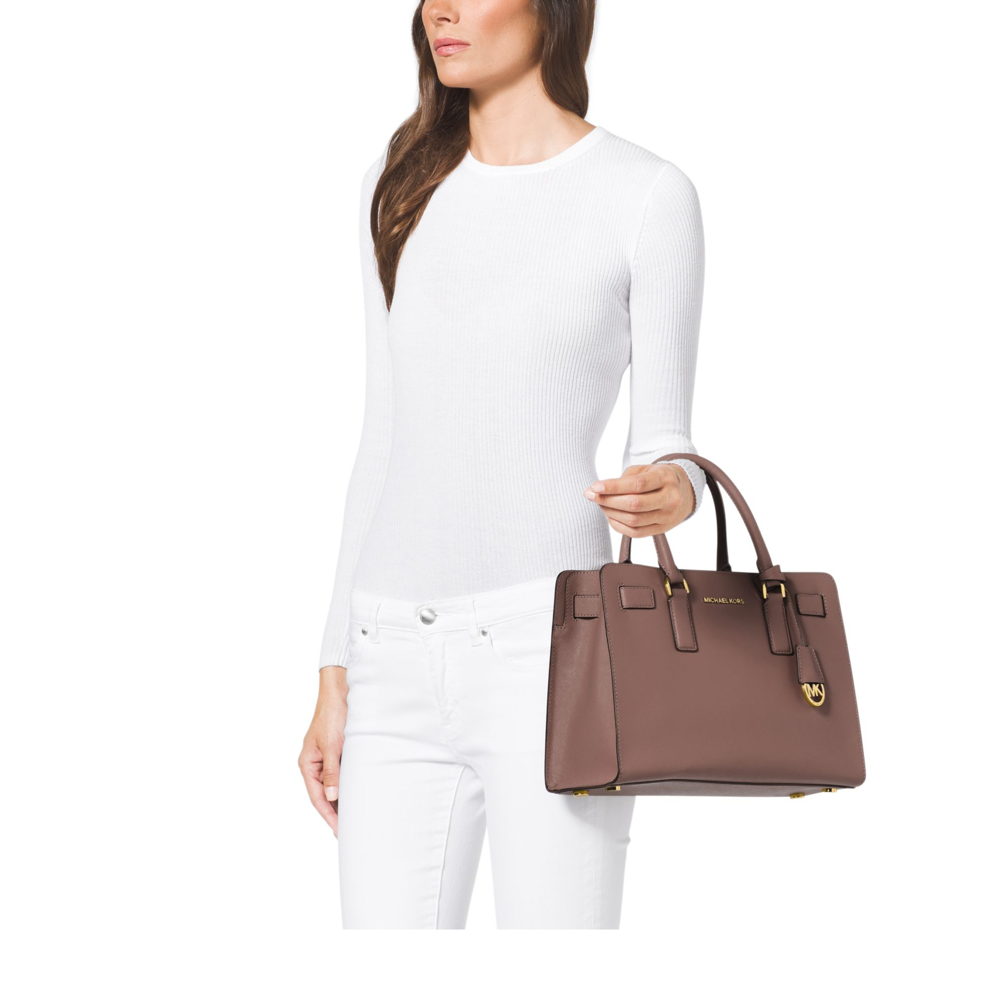 21e1f5f7e9 Lyst - Michael Kors Dillon Saffiano Leather Satchel in Natural
