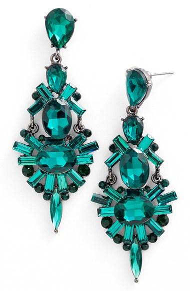 Lyst tasha chandelier earrings hematite emerald green in green gallery mozeypictures Choice Image