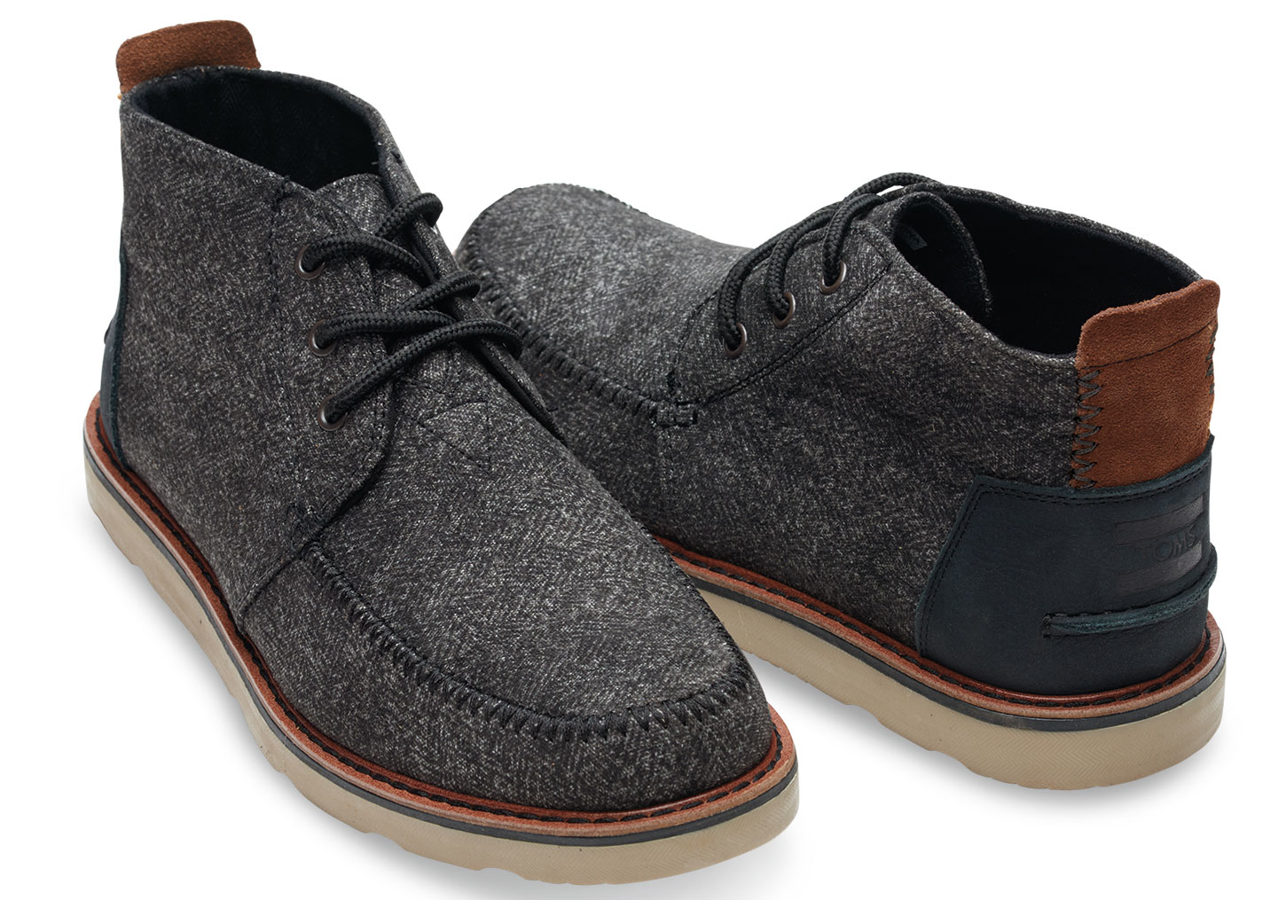 Toms Black Herringbone Men's Chukka Boots in Black for Men | Lyst