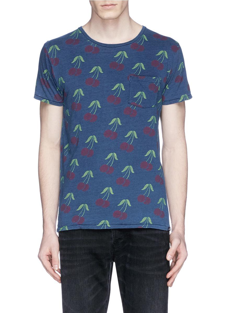 Lyst scotch soda cherry print slub jersey t shirt in for What is a slub shirt