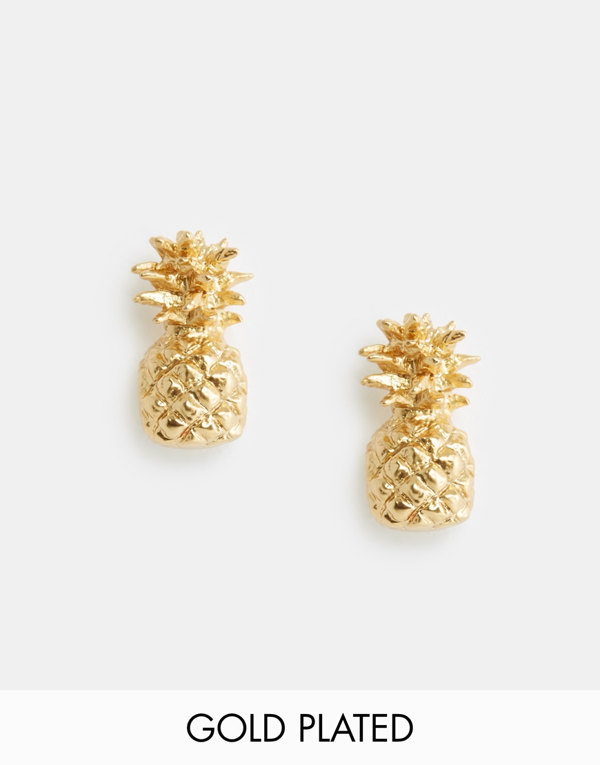 tangerine stud earrings gold goods collections pineapple