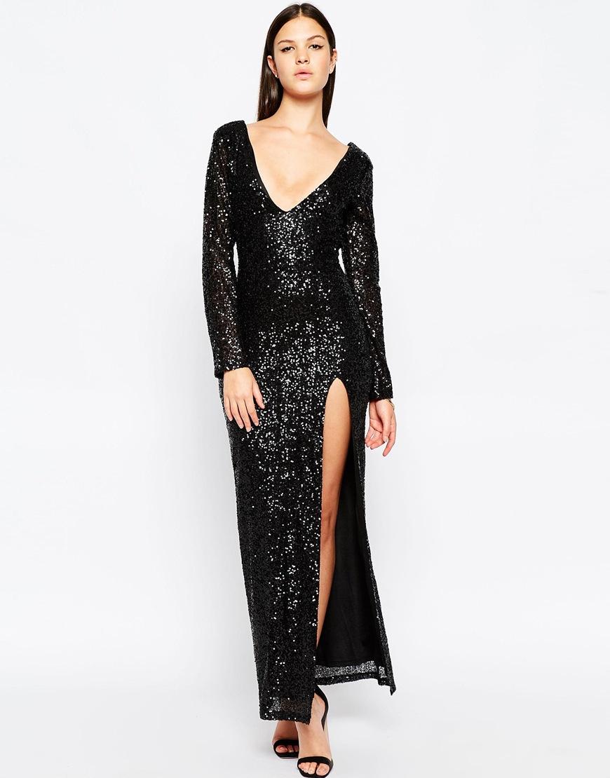 11b37aa4aaf Black Sequin Maxi Dress With Split - Gomes Weine AG
