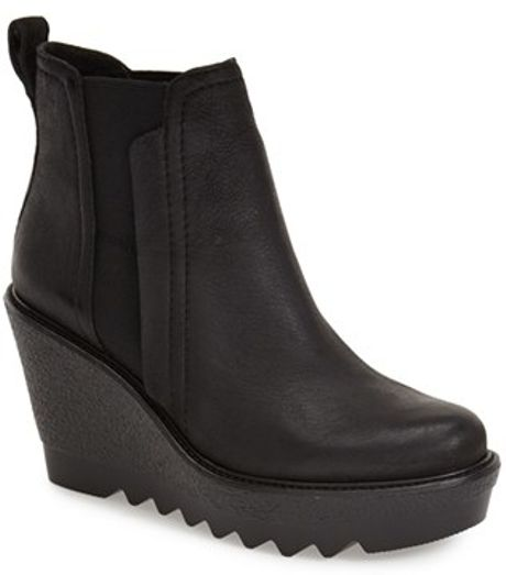 vince camuto black danisa wedge ankle boots lyst