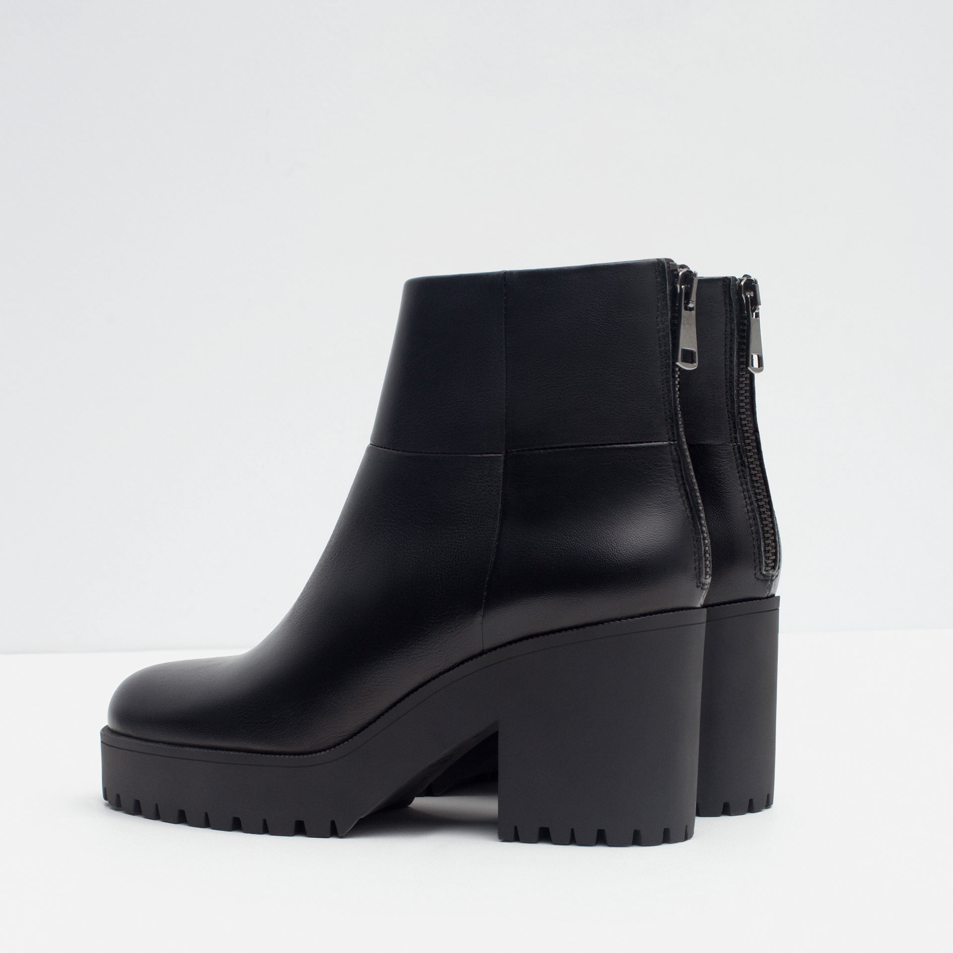 zara high heel leather ankle boots with track sole in