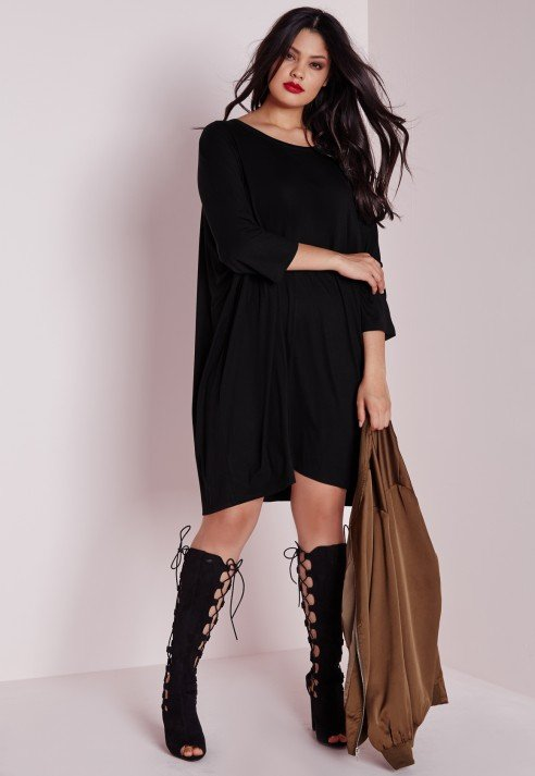 missguided plus size oversized t-shirt dress black in black | lyst