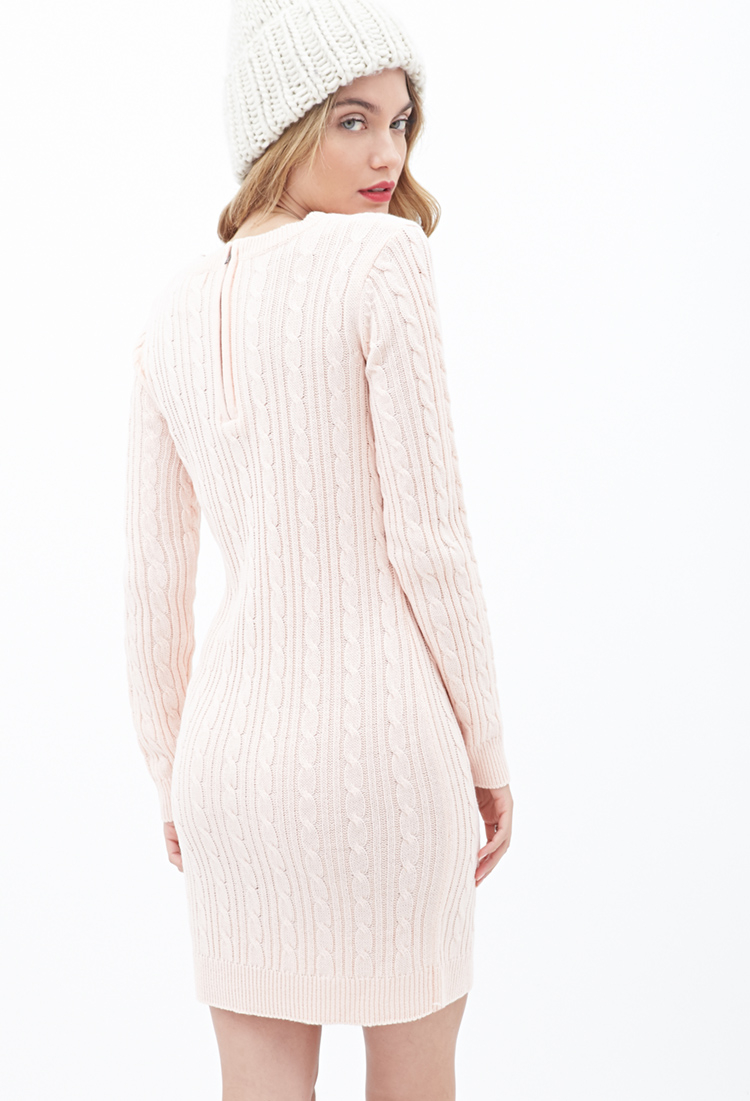 Forever 21 Contemporary Cable Knit Sweater Dress in Pink | Lyst