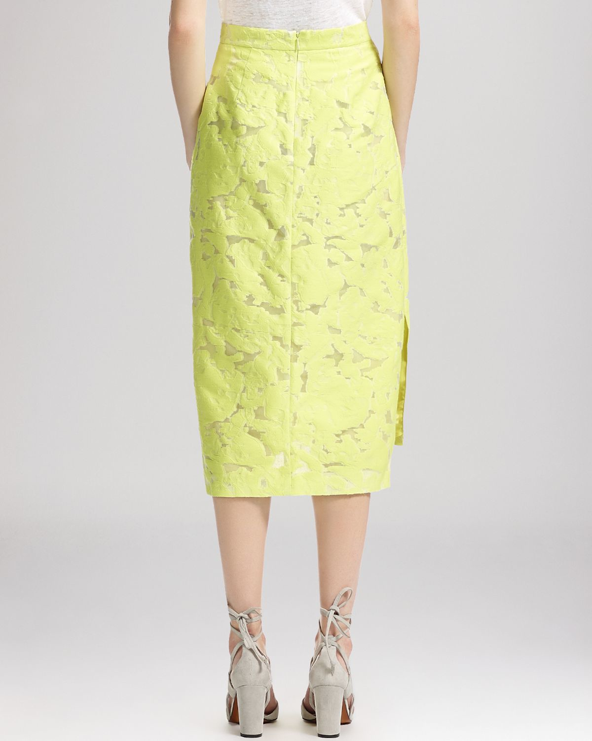 whistles leanora burnout lace pencil skirt in yellow lyst