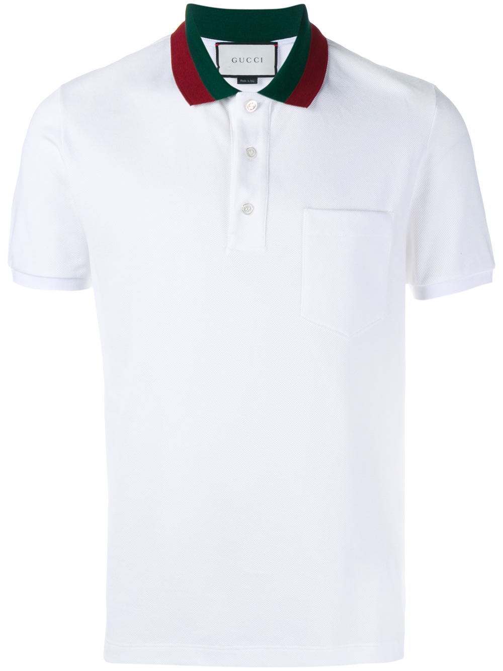 lyst gucci striped collar polo t shirt in white for men. Black Bedroom Furniture Sets. Home Design Ideas