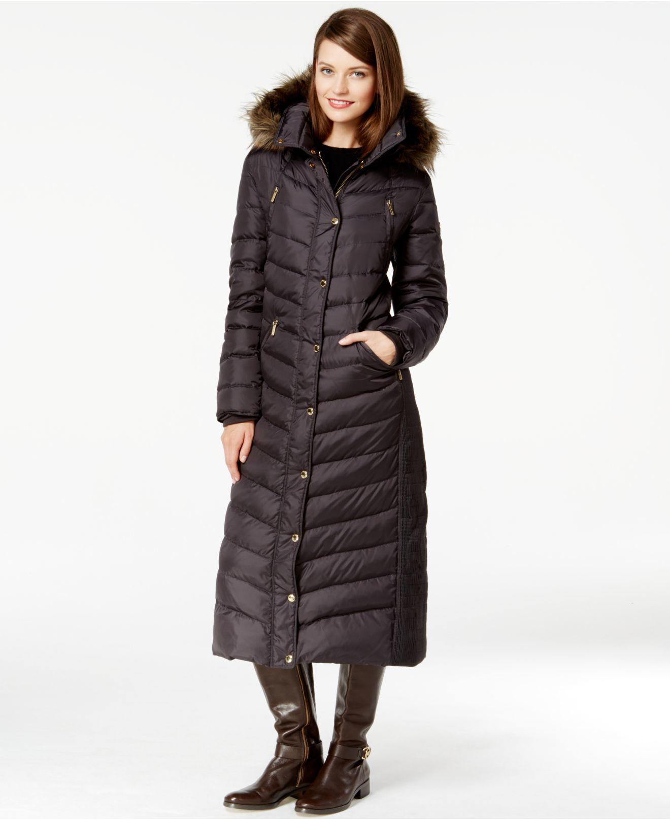 Lyst Michael Kors Michael Faux Fur Trim Maxi Puffer Coat