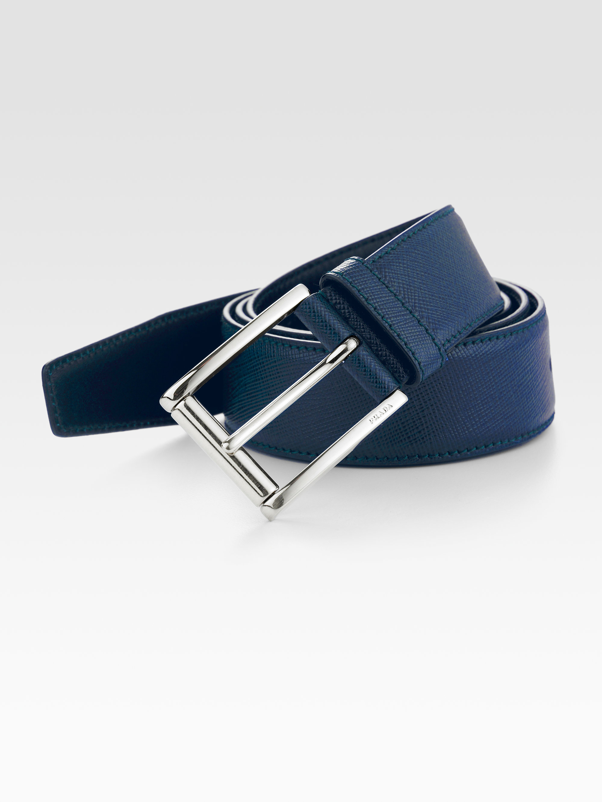 932d99d680e21 Prada Etched Saffiano Leather Belt in Blue for Men - Lyst