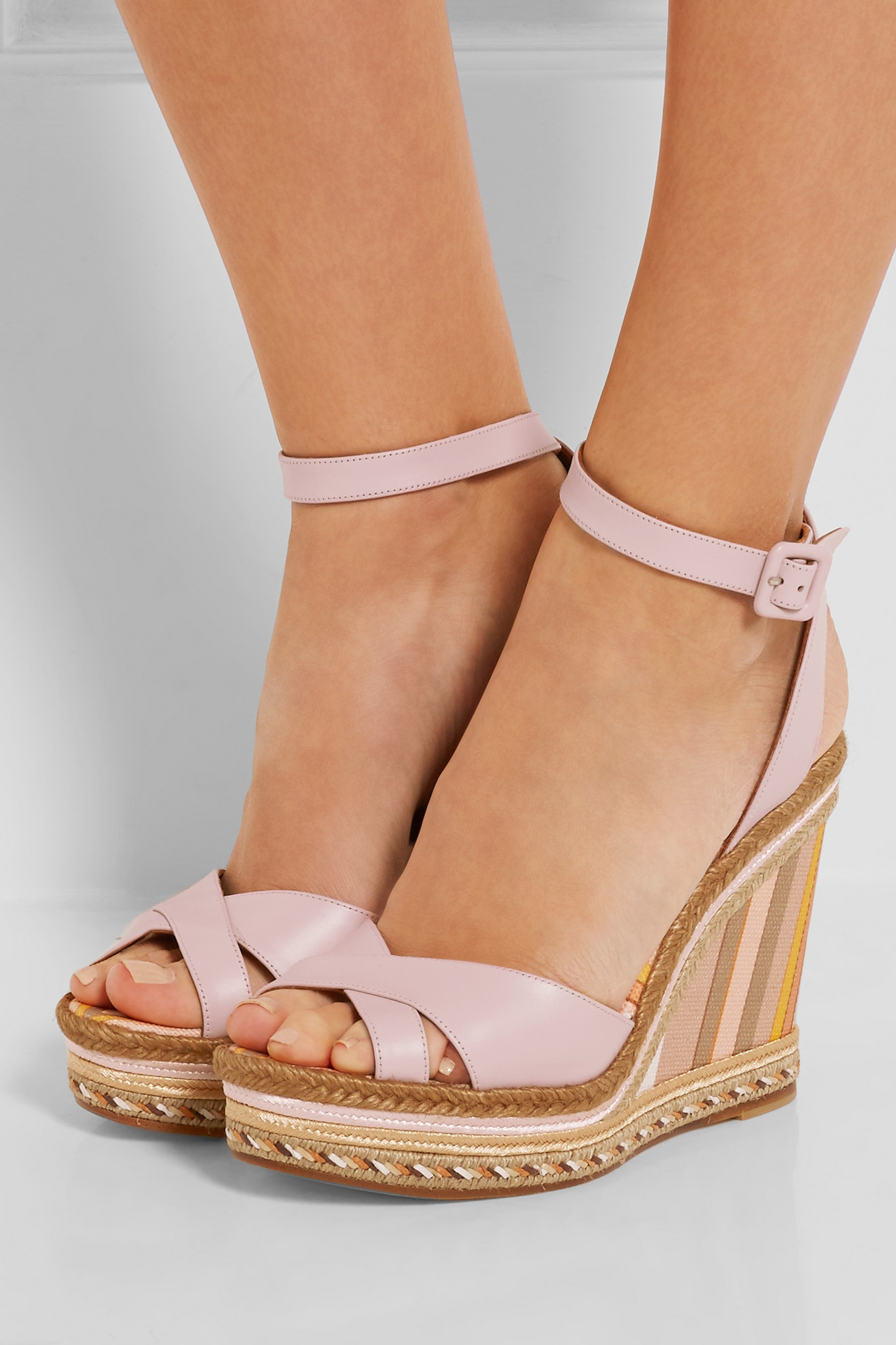 3843c95d8ad Lyst - Valentino Leather And Striped Canvas Espadrille Wedge Sandals