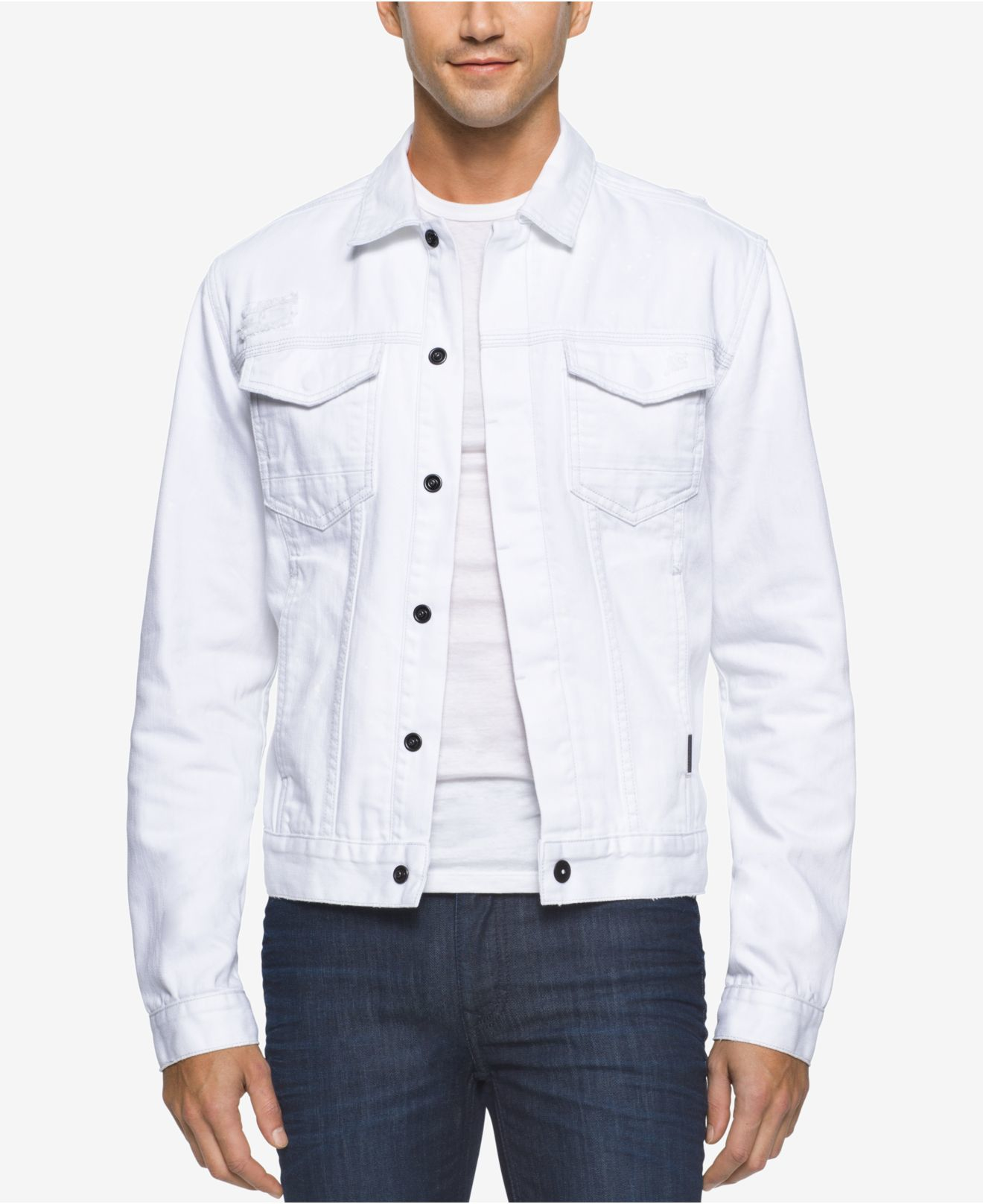 Calvin klein jeans Menu0026#39;s Painted White Jean Jacket in White for Men | Lyst