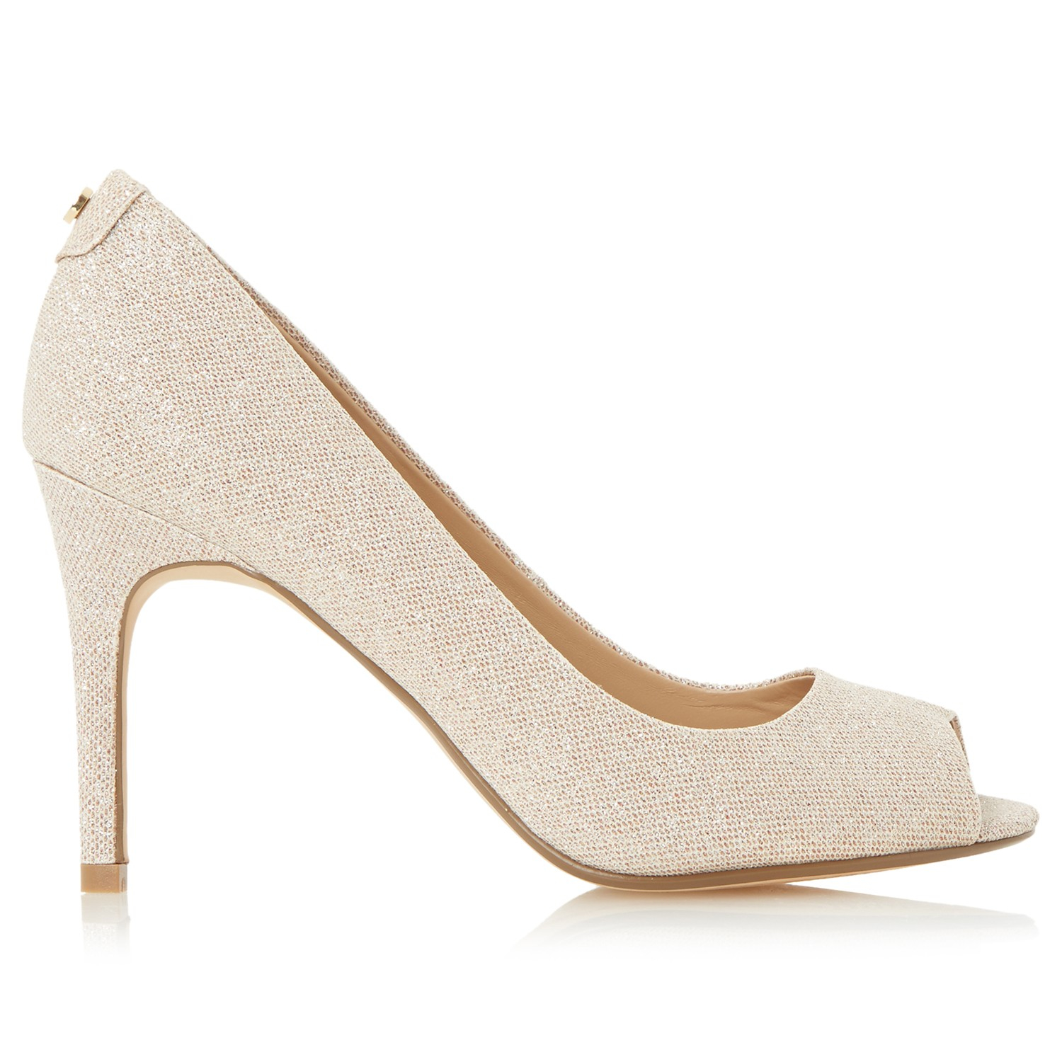 90f881726a0 Dune Dinah Peep Toe High Heel Court Shoes in Natural - Lyst