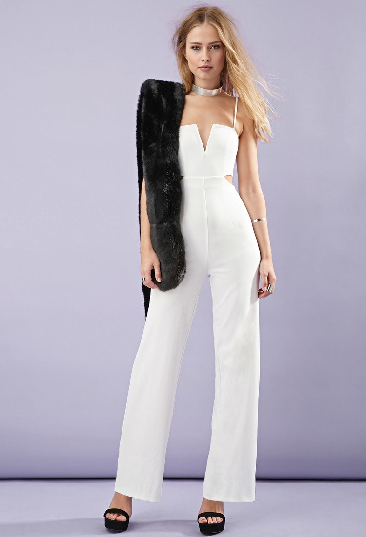 19d1ad2612 Lyst - Forever 21 Cutout-side Cami Jumpsuit in White