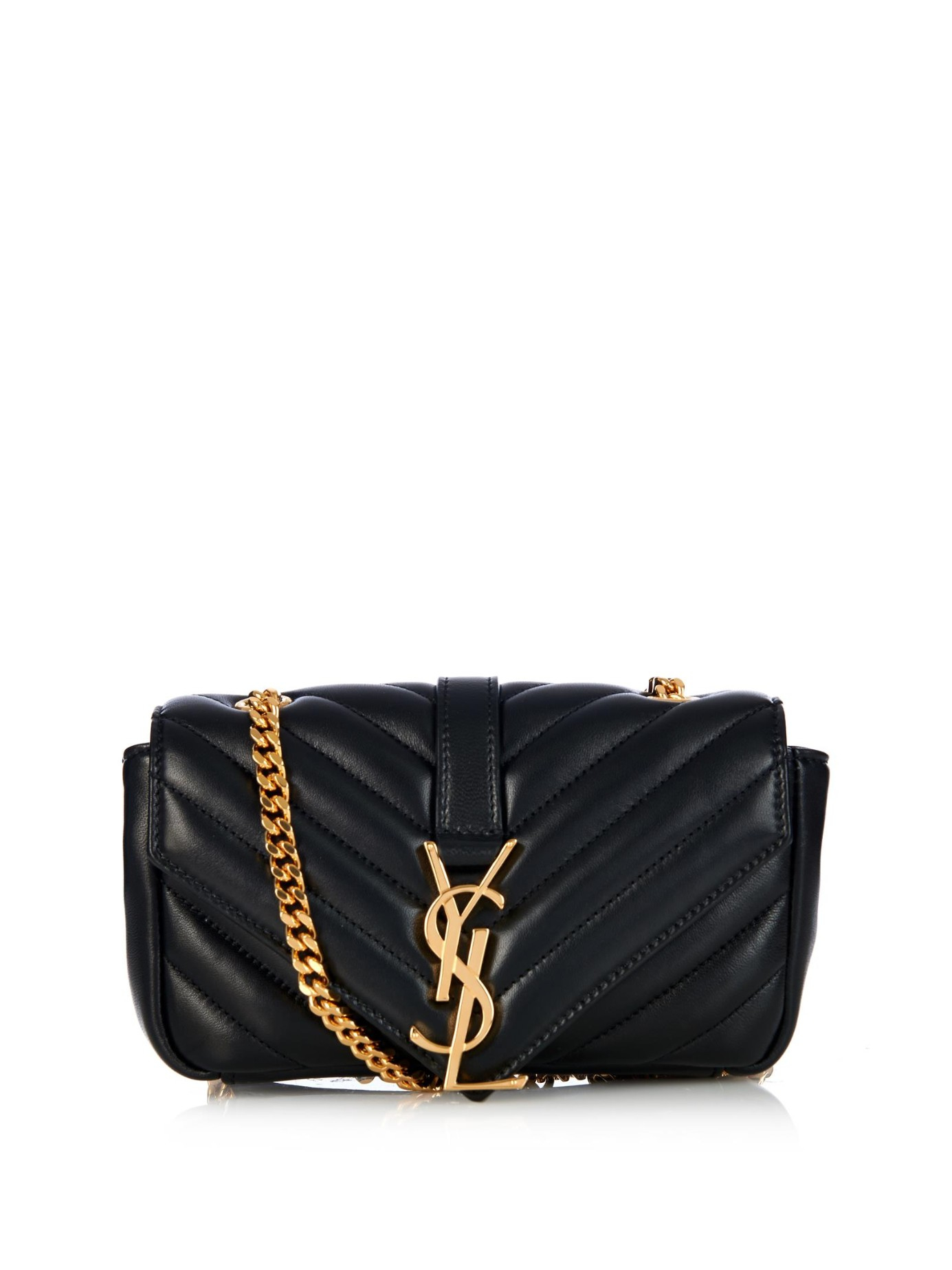 saint laurent monogramme baby quilted leather cross body bag in black lyst. Black Bedroom Furniture Sets. Home Design Ideas