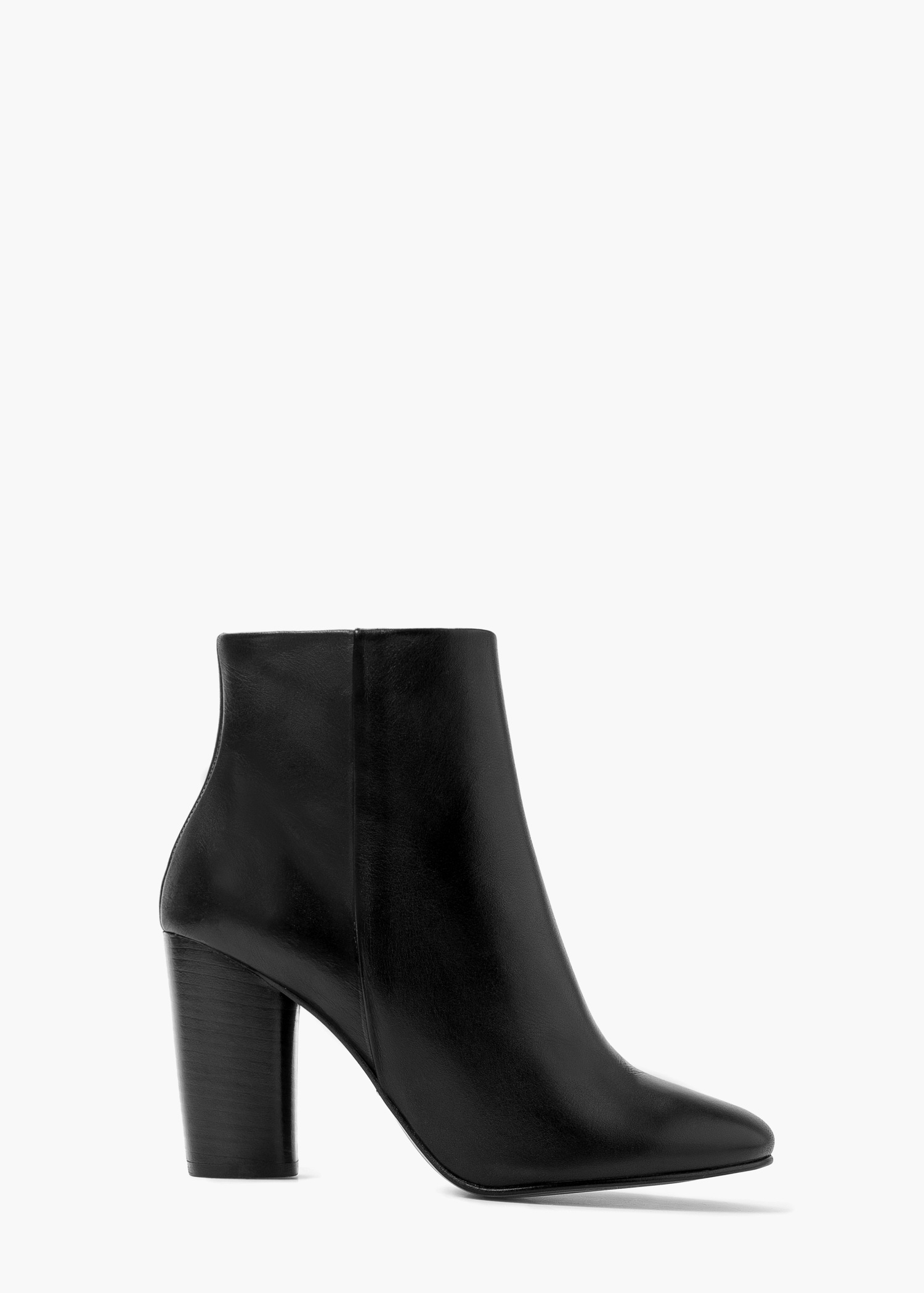 Mango Premium - Leather Heel Ankle Boots in Black | Lyst