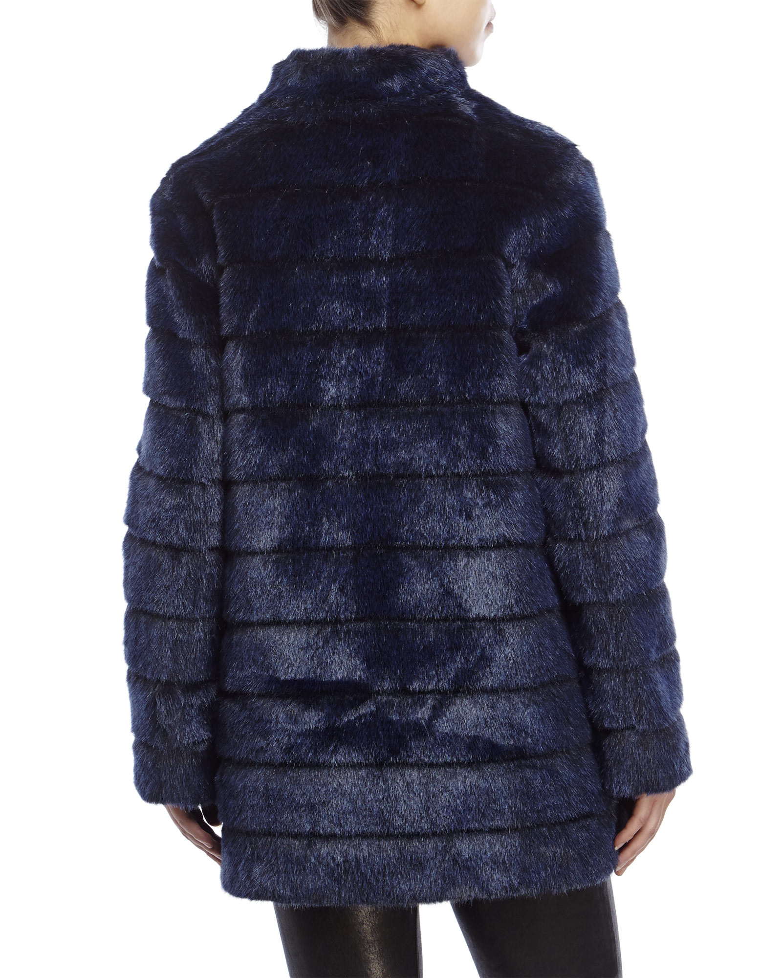 Laundry by shelli segal Navy Paneled Faux Fur Coat in Blue | Lyst