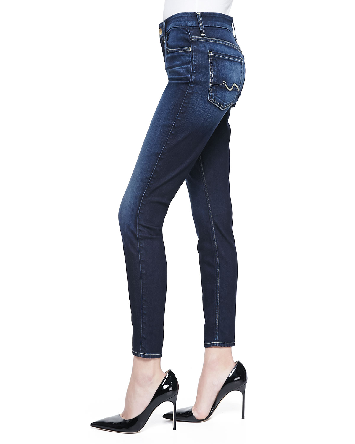 7 for all mankind high waist ankle skinny jeans in blue riche med dark lyst. Black Bedroom Furniture Sets. Home Design Ideas