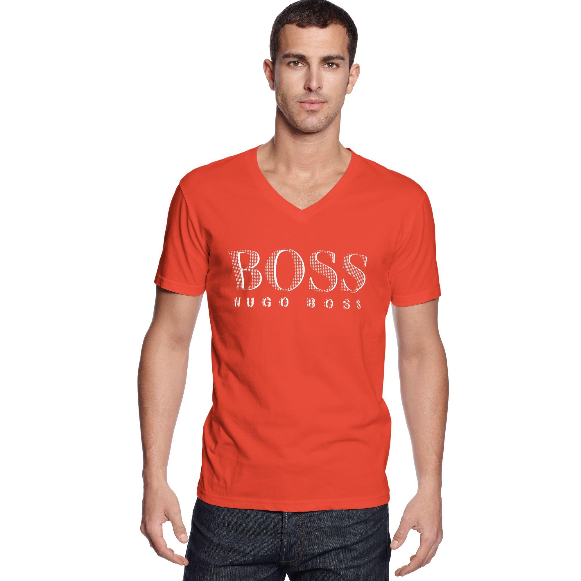 Hugo Boss Boss Swim Shirt Core Spf 50 Vneck Swim Tee In