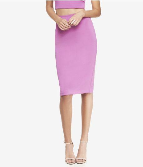 express bright pink high waist midi pencil skirt in purple