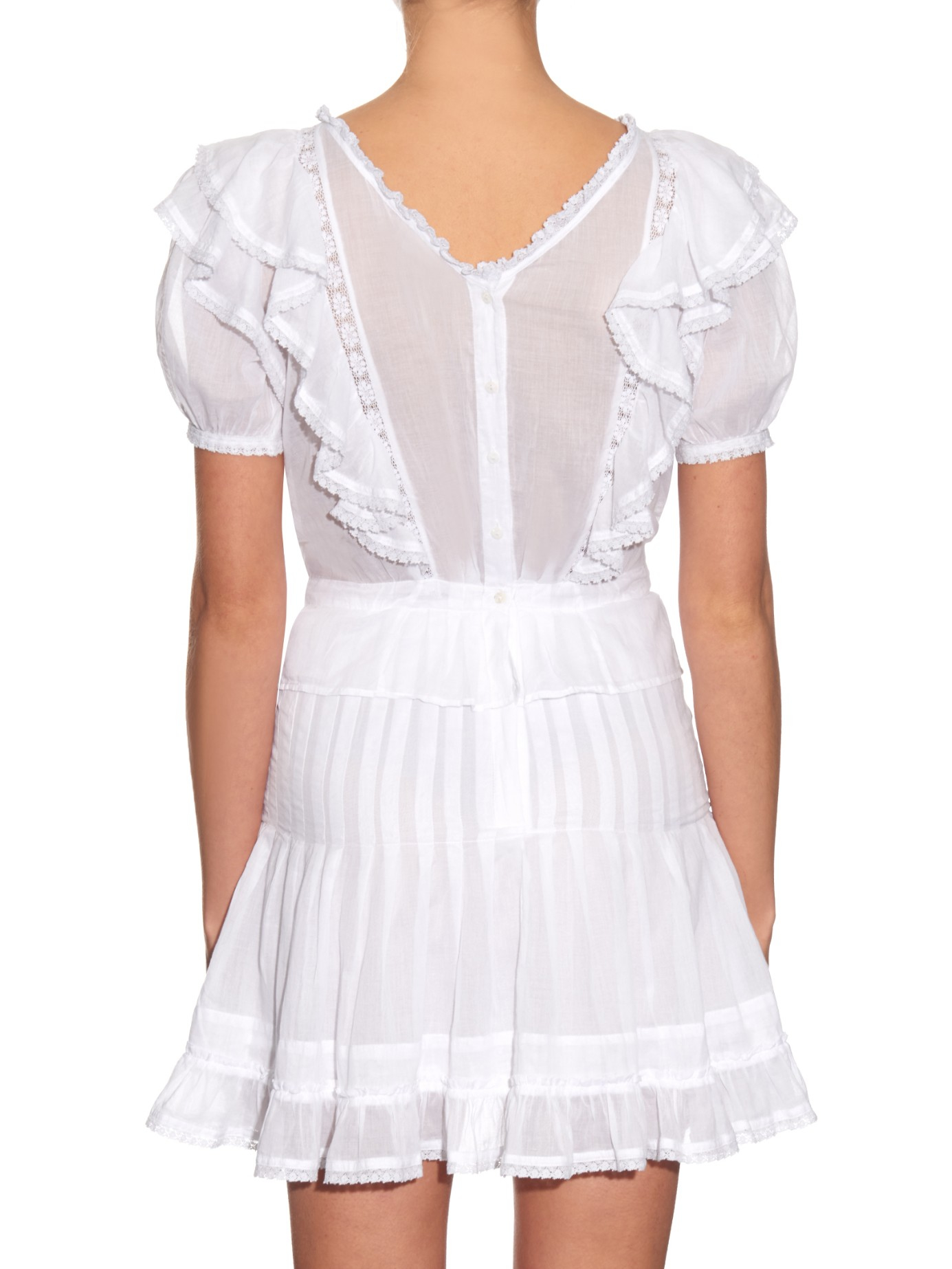 60f9925a36c Étoile Isabel Marant Naoko Bib-front Ruffled Dress in White - Lyst