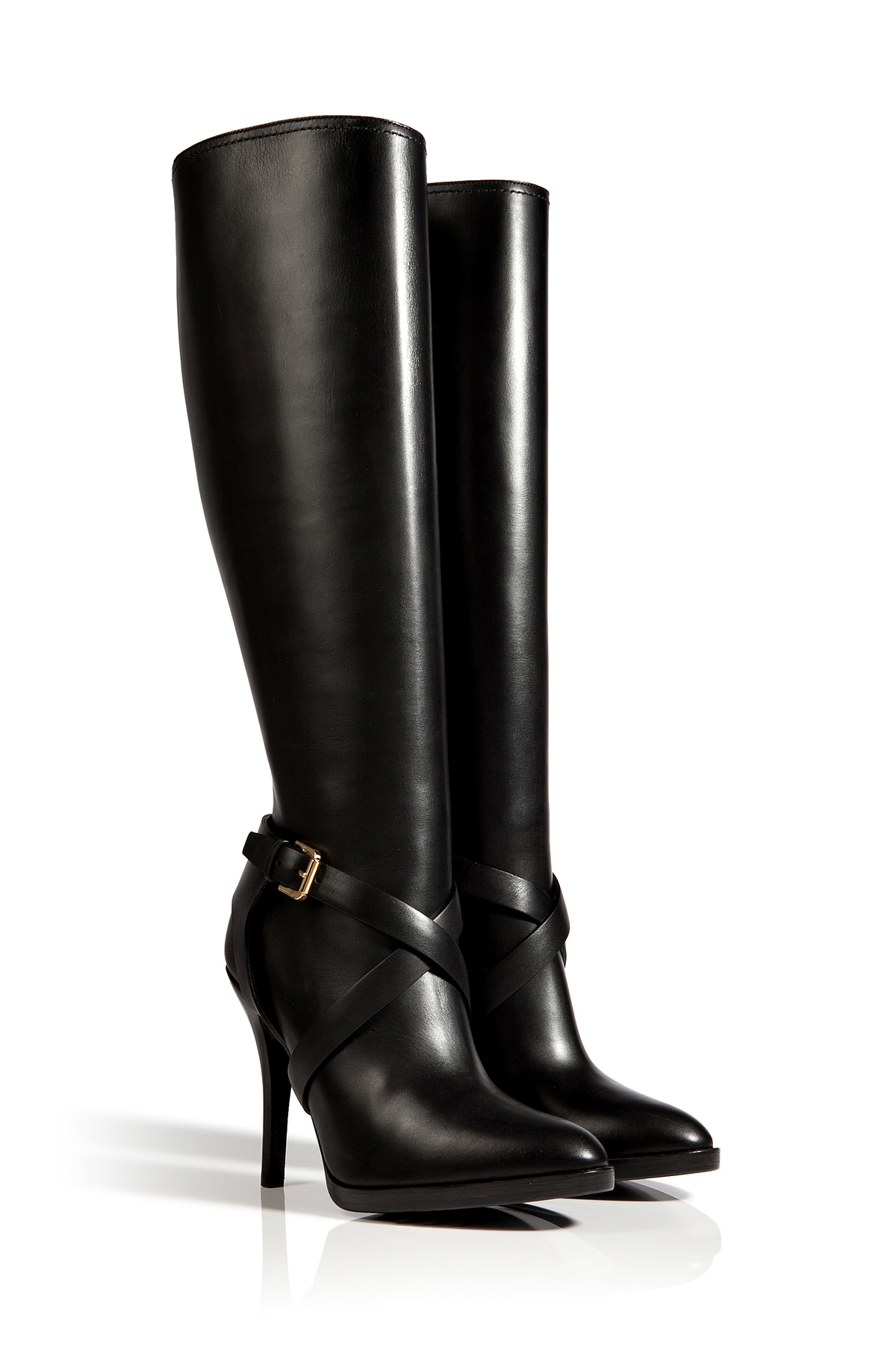 ralph collection leather concord high heel boots in