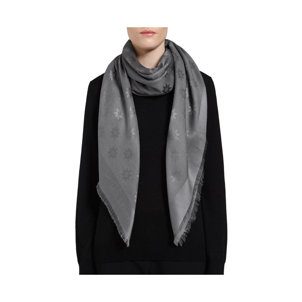 mulberry monogram block coloured scarf in metallic lyst
