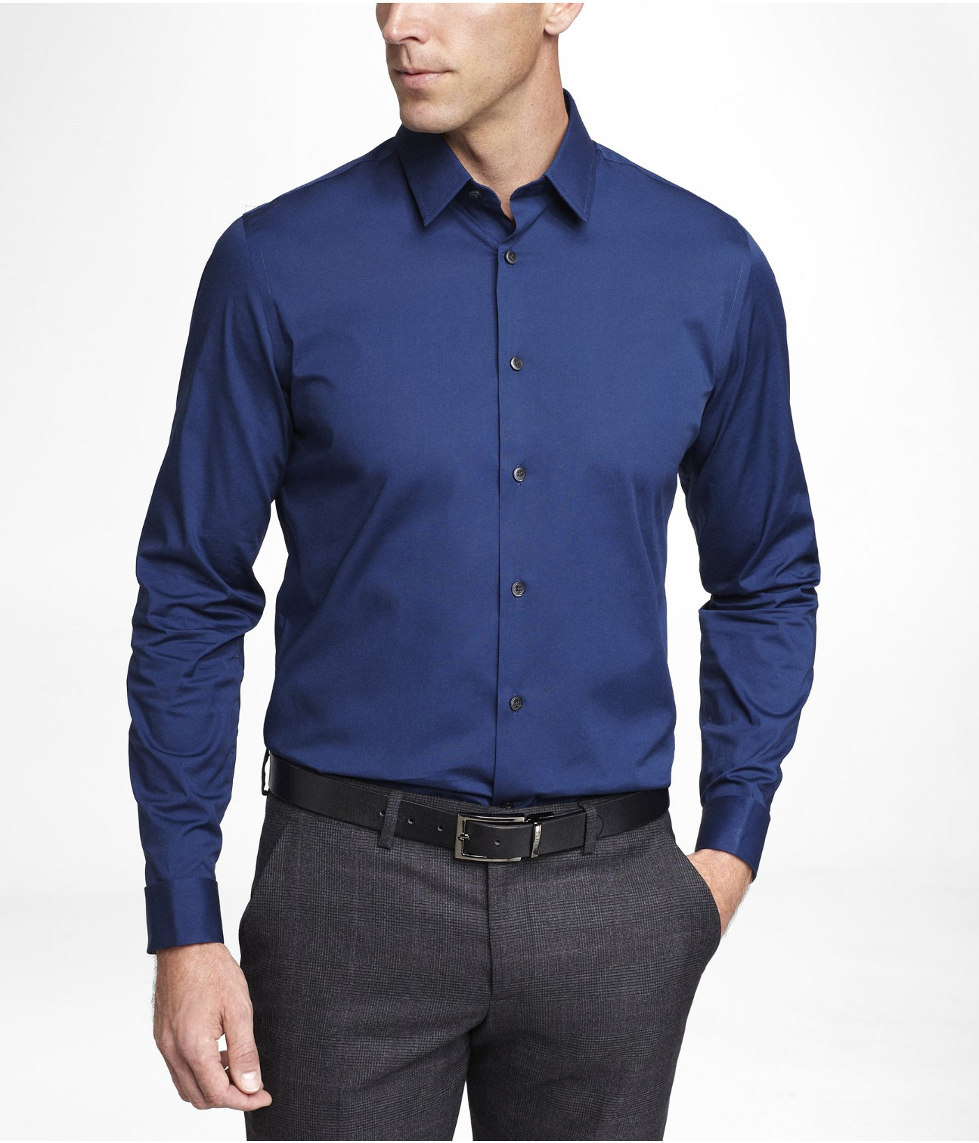 Lyst Express Modern Fit French Cuff 1mx Shirt In Blue