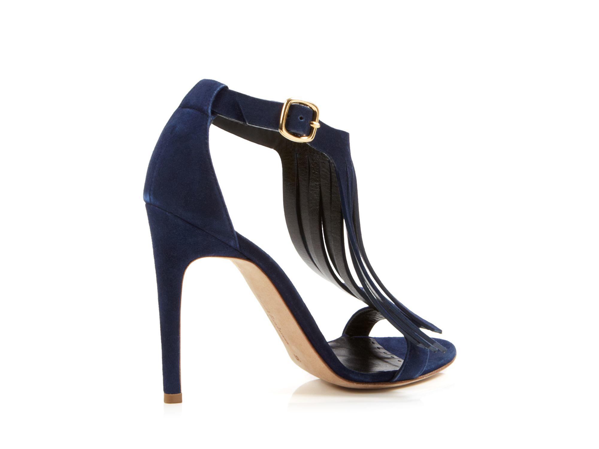Navy Blue High Heel Sandals - Is Heel