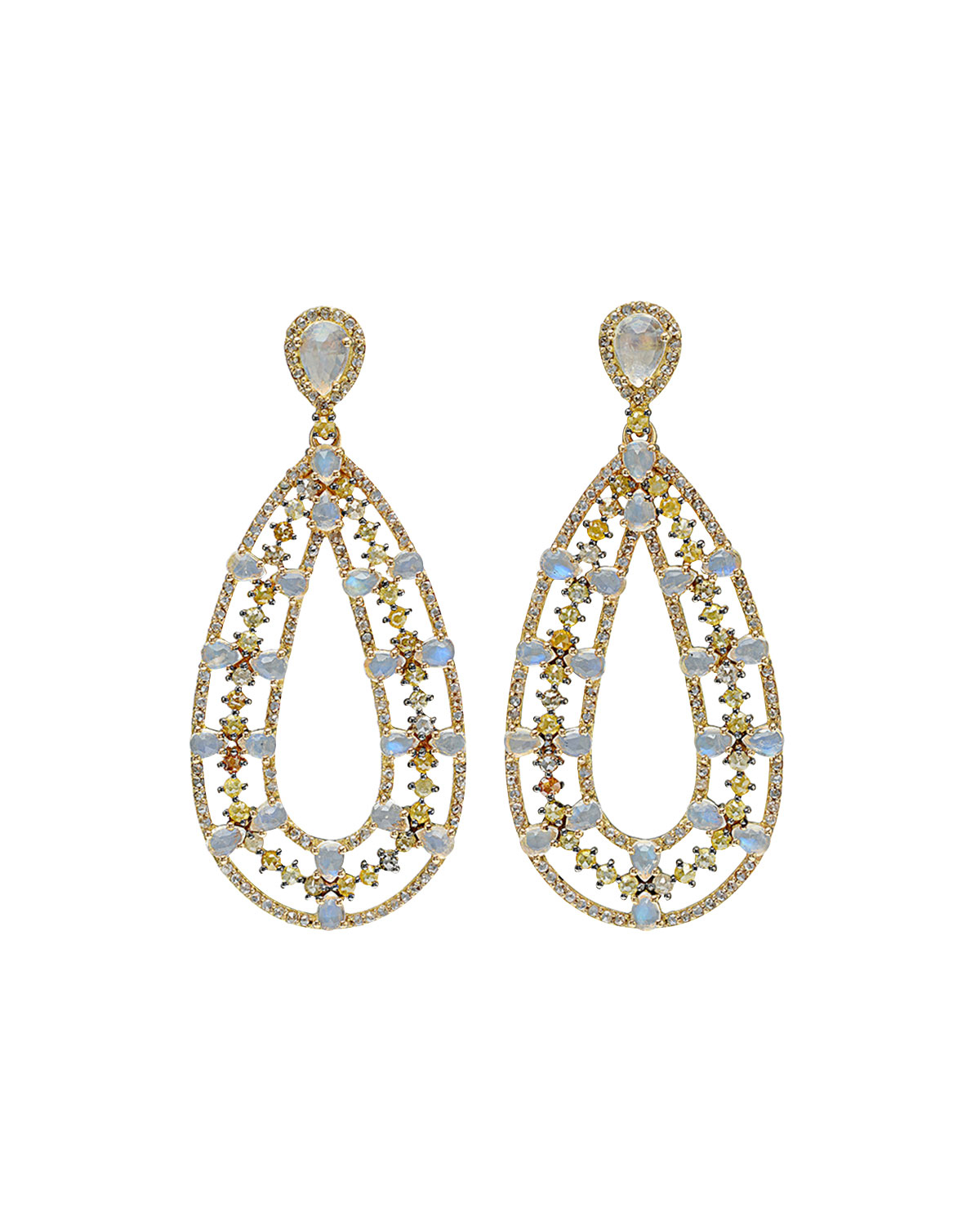 bavna jewelry lyst bavna moonstone multicolor pear earrings 7876