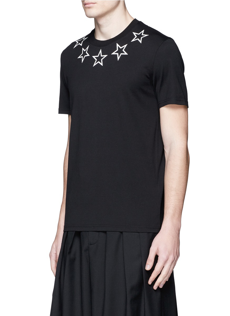 Givenchy star print cotton t shirt in black for men lyst for Givenchy 5 star shirt