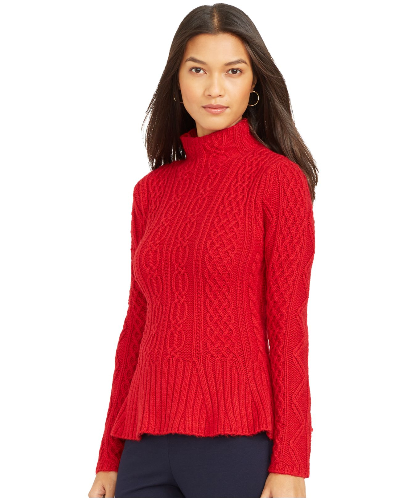 Lyst Lauren By Ralph Lauren Mock Turtleneck Cable Knit