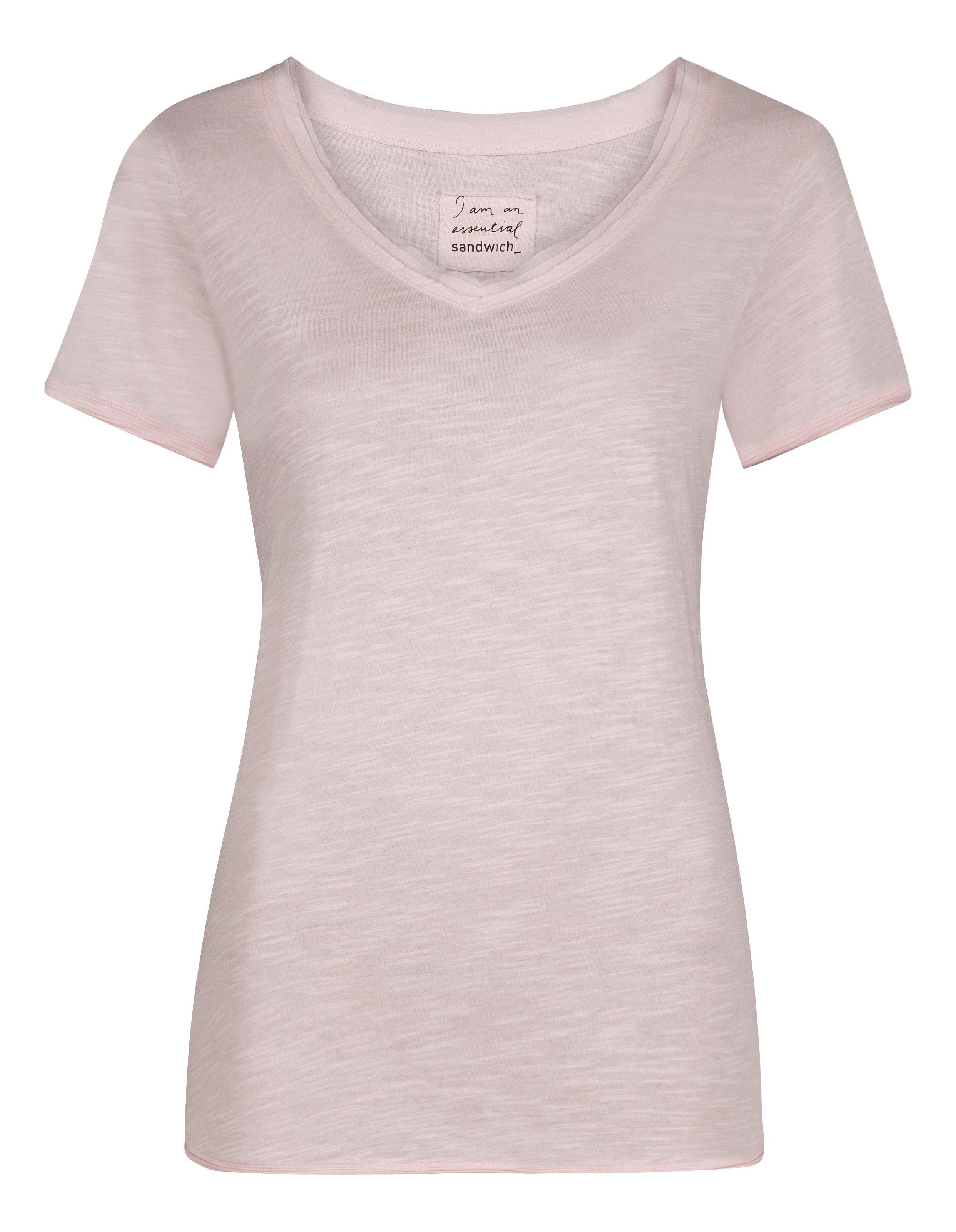 Lyst sandwich short sleeve cotton slub t shirt in pink for What is a slub shirt