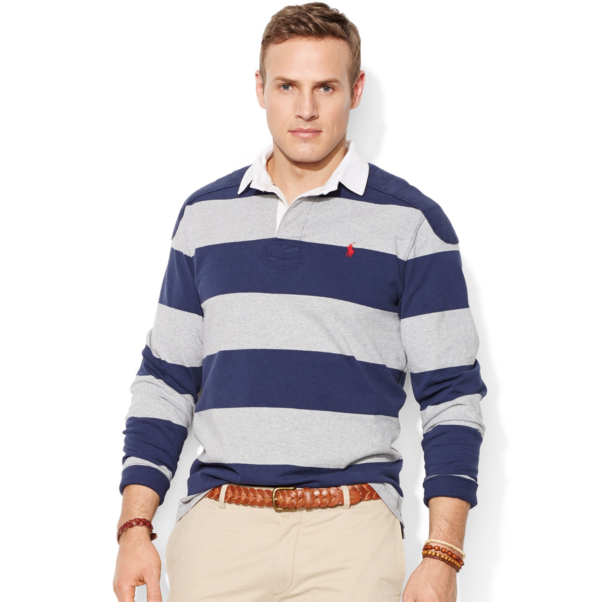 Polo ralph lauren big and tall long sleeve stripe rugby for Big and tall long sleeve shirts