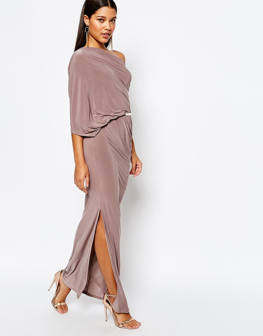 Lyst Club L One Shoulder Draped Maxi Dress With Thigh Split In Pink