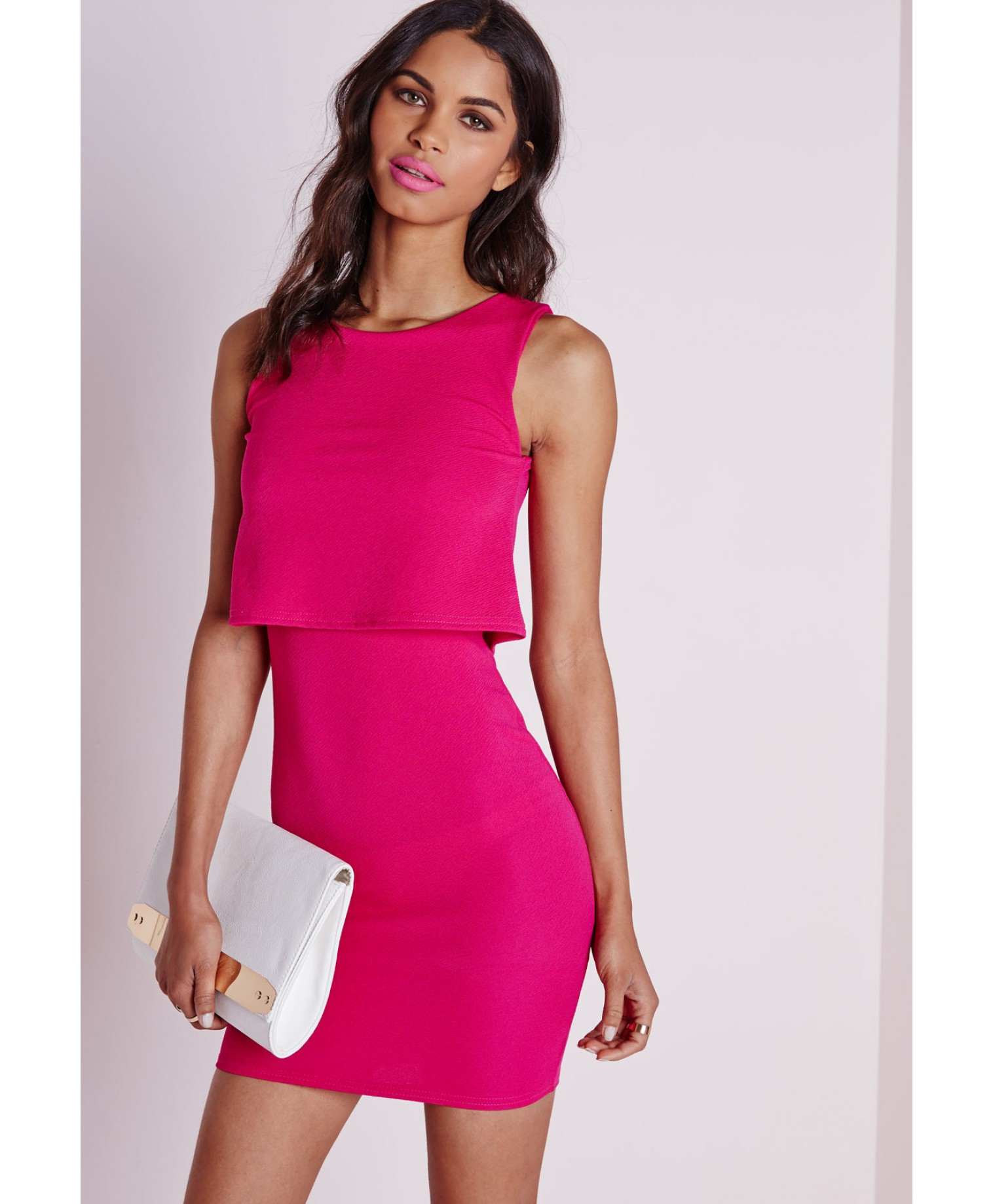 Missguided Layered Bodycon Dress Hot Pink in Pink | Lyst